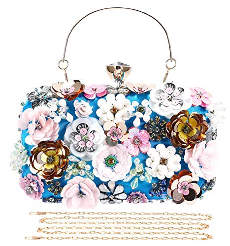 Selighting Colored Floral Clutches Evening Bags for Women Formal Bridal Wedding Clutch Purse Prom Cocktail Party Handbags (One Size, Blue)