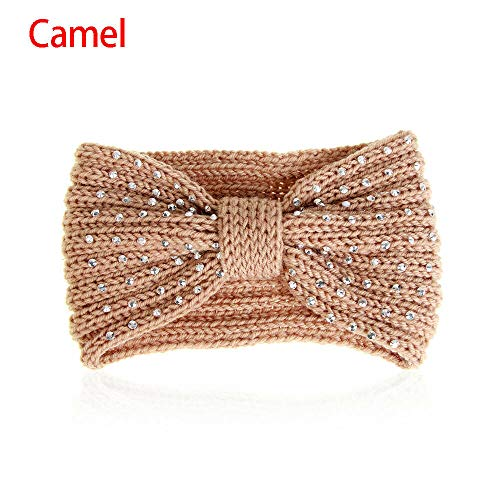 Ear Warmer Head Wrap Winter Knit Headband Crochet Hair Band Bead Rhinestone (Color - camel)