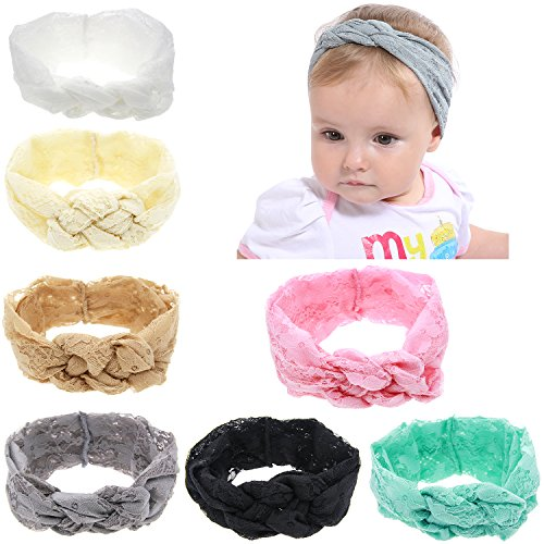 inSowni Solid Elastic Lace Celtic Knot Headband Bulk for Infant Baby Girl Kids Toddlers
