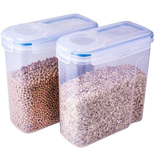 THETIS Homes Cereal Container,(2 Pack),Watertight and Airtight Dispenser with 4 Locking Lids,4L ,135.2 Oz by THETIS Homes