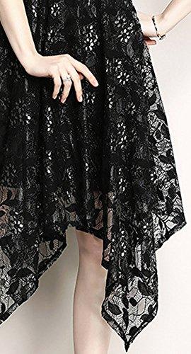Schwarz girl Damen Spitze Hohl Partykleid E YL51609 Kleid Cocktail Cocktailkleid Reine Midi Kurzarm Kleider wOxqpEqd