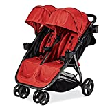 Premium Double Tandem Baby Strollers - Umbrella For Lightweight Use (21.15 Pounds) With Infants - Toddlers And Kids - Salsa Red Color