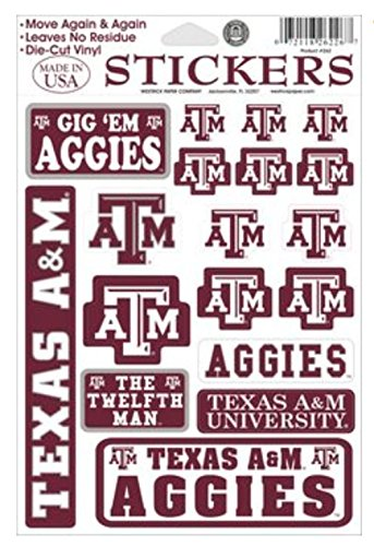 Texas A & M Aggies Vinyl Cling Stickers 18 Removeable Decals NCAA Licensed
