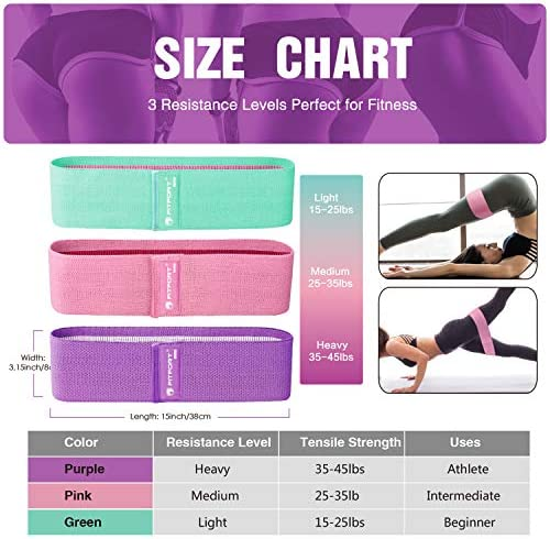 Resistance Bands for Legs and Butt Exercise Bands - Non Slip Elastic Booty Bands, 3 Levels Workout Bands Women Sports Fitness Band for Squat Glute Hip Training