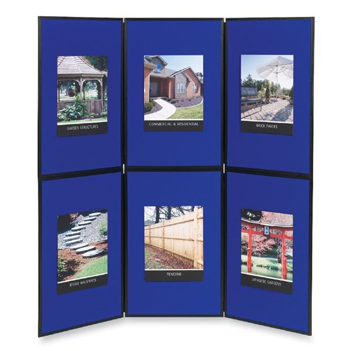 Quartet Show-It! 6-Panel Display System, 6 x 6 Feet, Double-sided, Blue/Gray - 6 Panel Display System