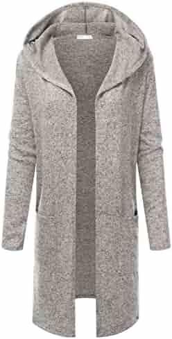 ec3c76d5d4a JJ Perfection Women's Long Sleeve Open Front Hooded Flowy Cardigan Sweater