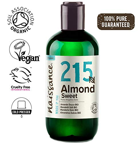 Naissance Organic Sweet Almond Oil 8.5 fl oz/250ml - Pure & Natural, UK Certified Organic, Cold Pressed, Vegan, Hexane Free & No GMO. Ideal for Massage, Skincare & Haircare