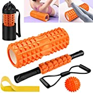 Foam Rollers, KilYn 6 in 1 Foam Roller Set Deep Tissue Massage Roller with Muscle Roller Stick, Exercise Resis
