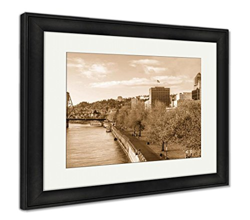 Skyscrapers Behind Autumn Park, Modern Room Accent Piece, Sepia, 34x40 (frame size), Black Frame, AG6504478 (Skyscrapers Behind Trees)