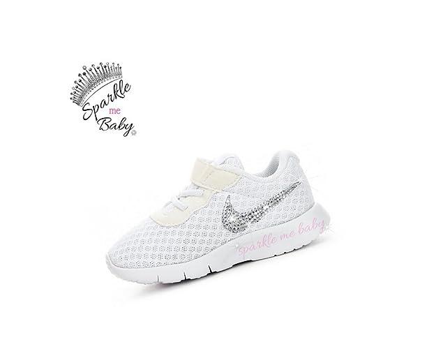 : Swarovski Nike Tanjun All White Toddler Bedazzled Shoes