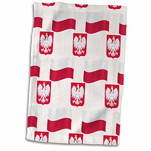 """3D Rose Flag and Coat of Arms of Poland in a Colorful Pattern. TWL_184177_1 Towel, 15"""" x 22"""""""