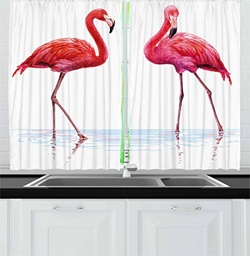 """Ambesonne Animal Kitchen Curtains, 2 Hand Drawn Flamingos in Pink Colors on Seaside Tropical Wildlife Artwork, Window Drapes 2 Panel Set for Kitchen Cafe Decor, 55"""" X 39"""", Peach Scarlet"""