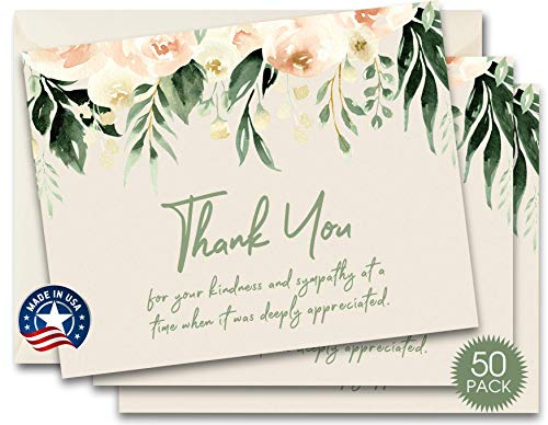 50 Funeral Thank You Sympathy Acknowledgement Note Cards with Envelopes, Bulk Funeral Thank You Notes