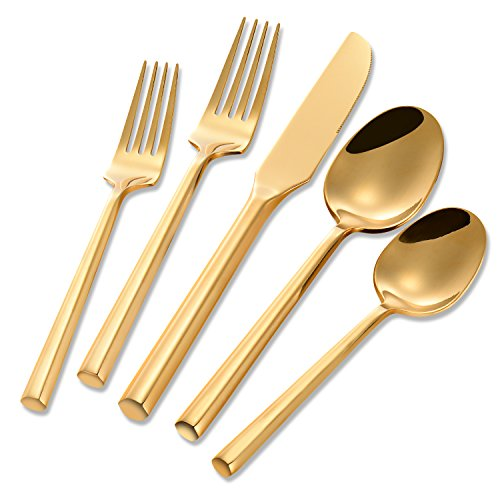 Flatasy Stainless Steel 5 Piece Gold Plated Hexagon Flatware Set,Forged Cutlery Dinnerware Service for 1