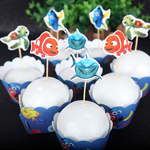 24pc Finding Dory Marlin Nemo Destiny Candy Bar Cupcake Topper for Baby Shower Kids Birthday Party Supplies 12 pcs Cake topper and 12pcs cake -