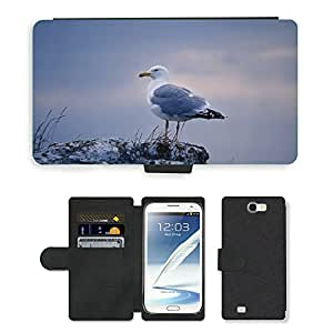 Super Stella Cell Phone Card Slot PU Leather Wallet Case // M00147973 Gull Bird Gotland Twilight Sunset // Samsung Galaxy Note 2 II N7100