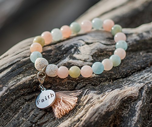 WellBeing Essential Oil Diffuser Bracelet with Lava Rock Real Natural Semi-Precious Stone for Aromatherapy Meditation Chakra Yoga SelfLove made with Morganite Brings Strength and Peace in Mind Small