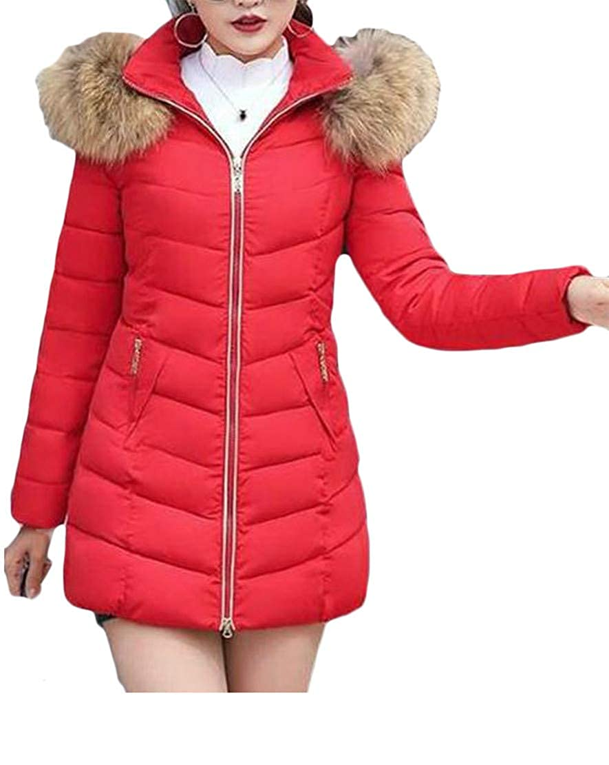 P&E-CA Women Hooded Fleece Pocket Quilted Down Jacket Anoraks Parka