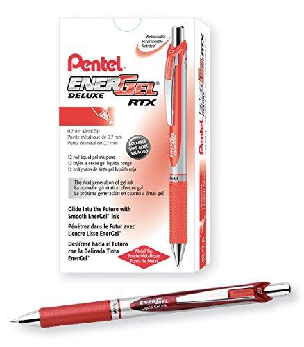 Pentel BL77-B, EnerGel Deluxe RTX, Gel Pen, Medium Metal Tip, Red/Silver Barrel, Red Ink, Box of 12