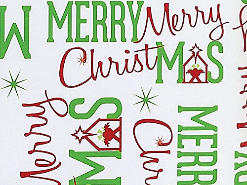 Pack Of 1, Merry Christmas Manger 24'' X 417' Roll Christmas Premium Gift Wrap Papers For 175 -200 Gifts Made In USA by Generic