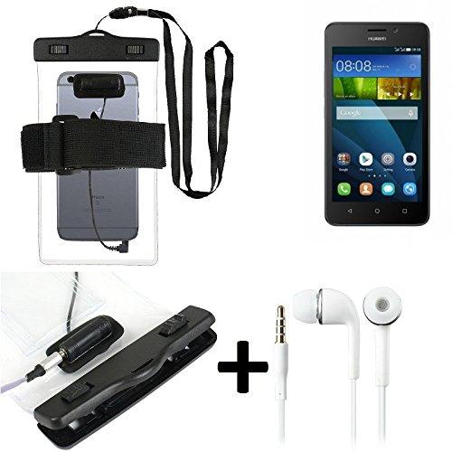 Estuche estanco al agua con entrada de auriculares para Huawei Y635 + auricular incluido, transparente | Trotar bolsa de playa al aire libre caja brazalete del teléfono caso de cáscara bajo playa - K-