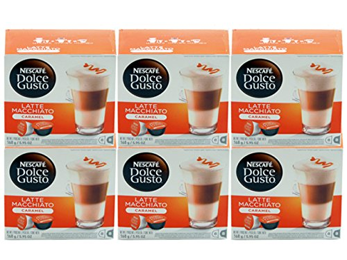 Dolce Gusto Caramel Latte Macchiato (Case of 6 packages; 96 Capsules Total)