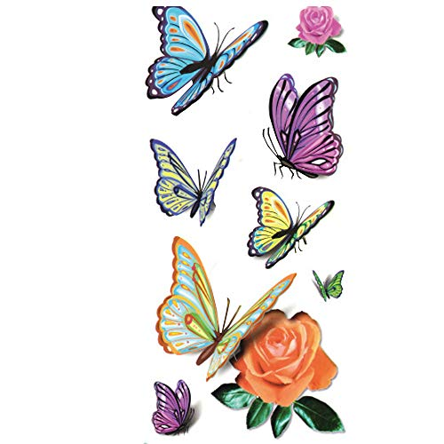 Akabsh_accessory Colorful Personalized 3D Butterfly Pattern Tattoo Stickers,Waterproof Disposable Tattoo Paper]()
