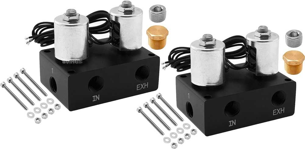 Vixen Air 1/4'' NPT Suspension/Air Ride Manifold Solenoids/Valves (Two Corners) VXF1UM14C-2