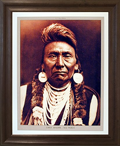 Framed Wall Decoration Native American Poster - Chief Joseph Nez Perce Brown Picture Art Print (19x23)