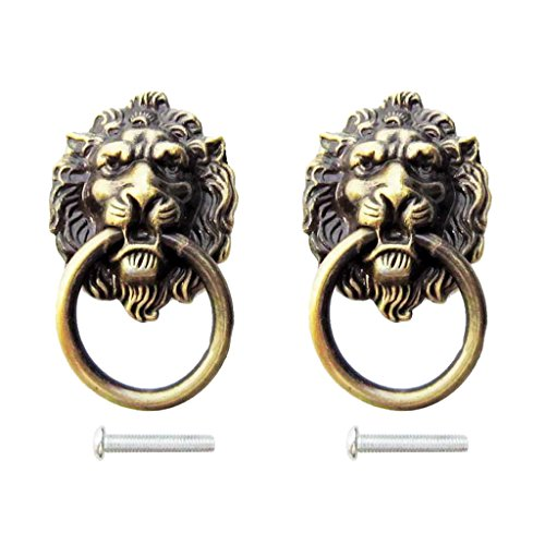 MonkeyJack 2x Vintage Brass Decorative Lion Head Knobs Dresser Drawer Door Pull Handles