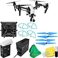 DJI Inspire 1 V2.0 Quadcopter With Single Remote + Deluxe Hard Case + 4pcs Blue Propellers + Blue Propeller Guards + ZEEKITS Microfiber Cloth + Lens Cleaning Kit for DJI