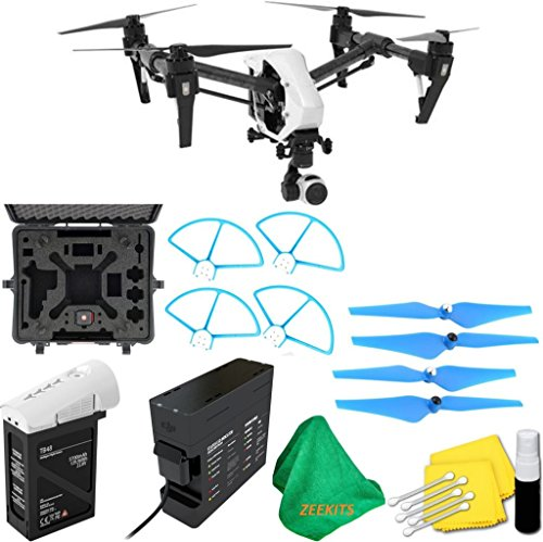 DJI-Inspire-1-V20-Quadcopter-With-Single-Remote-Deluxe-Hard-Case-4pcs-Blue-Propellers-Blue-Propeller-Guards-ZEEKITS-Microfiber-Cloth-Lens-Cleaning-Kit-for-DJI
