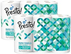 Presto! Flex-a-Size Paper Towels are strong and absorbent, ideal for tough messes. Up to 75% more absorbent versus leading 1-ply brand, each huge roll lasts 2.5X longer than a regular paper towel roll (based on a regular roll with 63 half she...