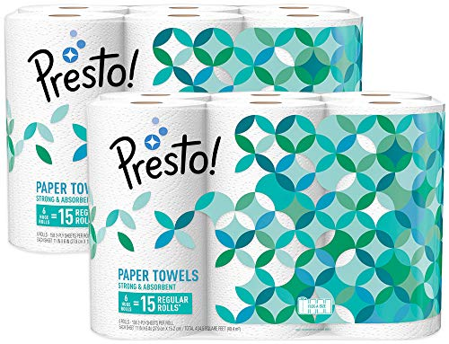 Amazon Brand - Presto! Flex-a-Size Paper Towels, Huge Roll, 12 Count = 30 Regular ()