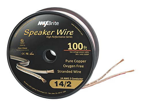 High Performance 14 Gauge Speaker Wire, Oxygen Free Pure Copper - UL Listed Class 2 (100 Feet Spool)