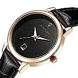 Wdnba Fashion Women Watches Golden Leather Watch Women Dress Clock Calendar Quartz Watch