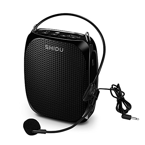 SHIDU S258 Portable Voice Amplifier Rechargeable Loudspeaker with Wired Microphones Belt Clip Support TF Card/ U Flash Disk/ MP3 Format - (Rechargeable Loudspeaker)