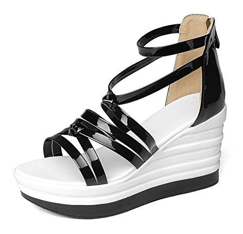 Easemax Womens Stylish Cross Strap Platform Wedge Heels Sandals With Back Zipper Black CMSR4U