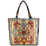 Vintage Bohemian Summer Embroidered Large Tote Bag Tapestry Shoulder Bag Women Handbag (yellow&cobalt blue)