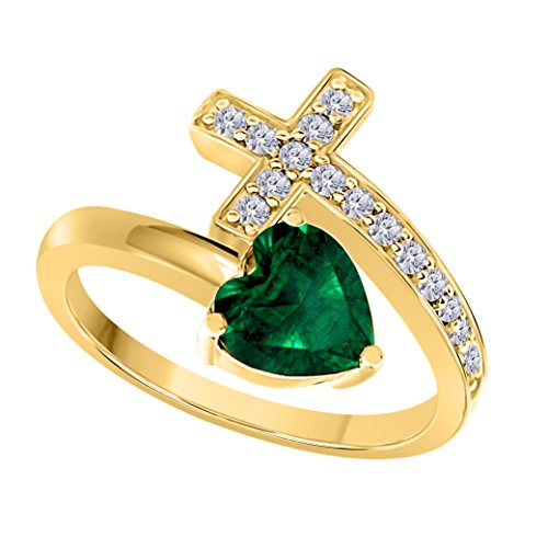 (Silver Gems Factory 14k Gold Finish Ladies Heart Shape Created Blue Emerald & CZ Created Diamond Heart and Sideways Christian Cross Wrap ring)