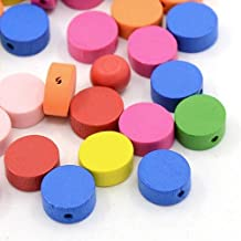 Pandahall 100 Pcs Mixed Color Flat Round Wood Beads, Dyed, Lead Free, about 13mm in diameter, 5mm thick, hole: 2mm by Pandahall