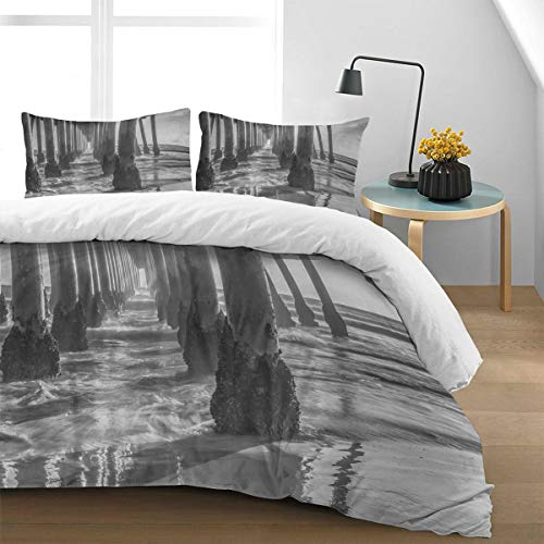 (Duvet Cover Set with Zipper Closure,4 Pieces King Size Bedding Set (1 Duvet Cover + 2 Pillow Shams) Luxurious Soft Breathable Durable,Under The Pier Bridge Black and White, 92 by)