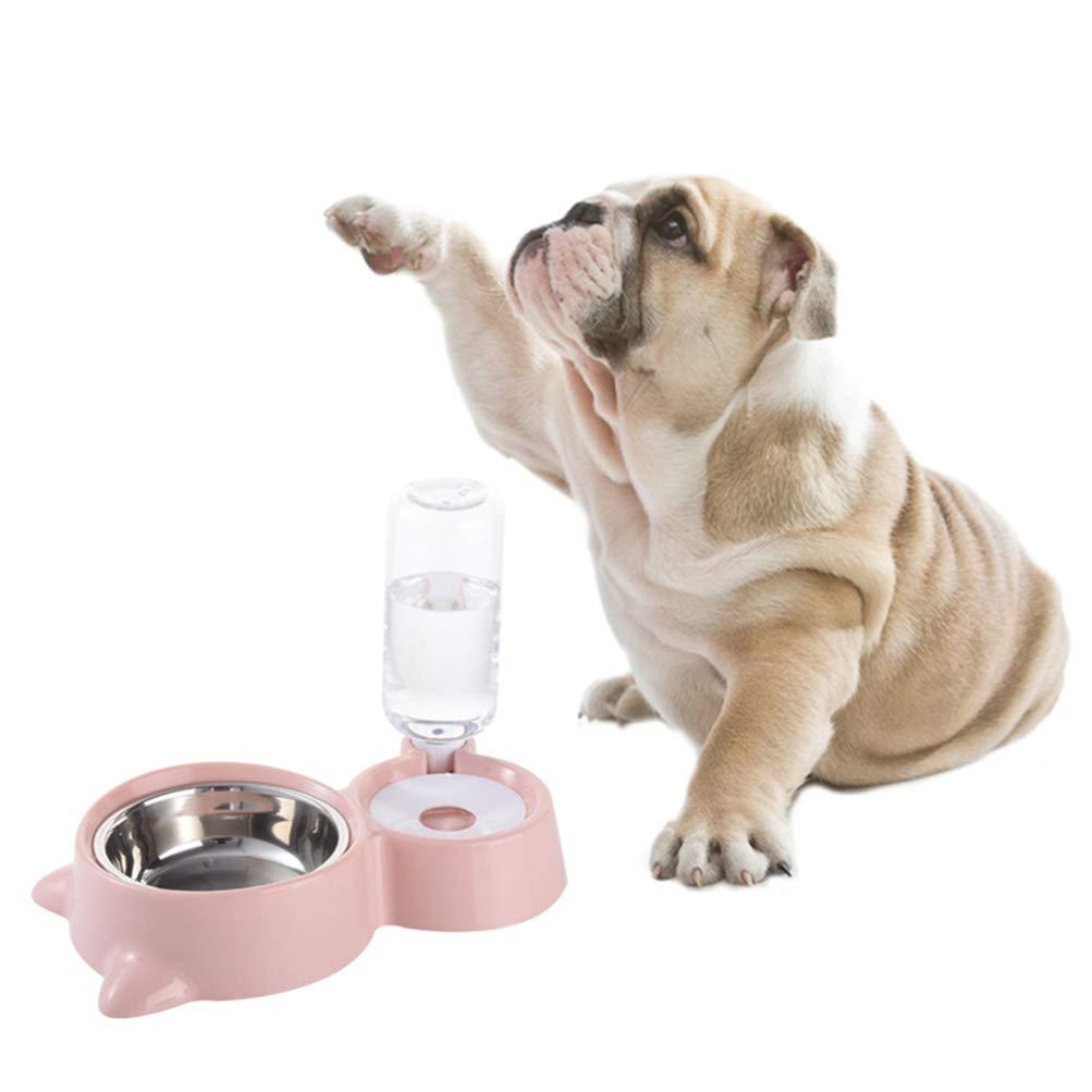 Rosa Balacoo Ciotola per Alimenti per Gatti per Cani Ciotola per Acqua per Animali Alimentatore per Animali Domestici con Bottiglia dAcqua Automatica Forniture per Animali Domestici per Cani Gatto