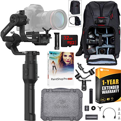 DJI Ronin-S 3-Axis Handheld Gimbal Stabilizer Essentials Kit for Mirrorless and DSLR Cameras Creative Bundle with Deco Photo Backpack Case + 1 Year Warranty Extension + 32GB Card + Paintshop Software