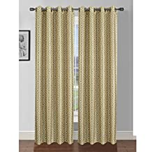 """Window Elements Camille Printed Faux Silk Grommet Curtain Panel Pair, Yellow/Grey, 76 by 84"""""""