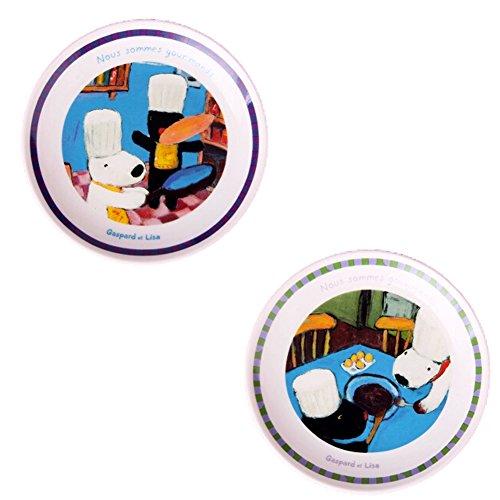 Kylin Express Set Of 2 Ceramic Cartoon Animal Round Dishes Chicken Dishes,Blue by Kylin Express