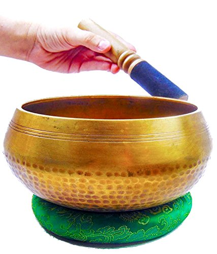 Buddha Guides (BELOW COST CLEARANCE SALE Hand Hammered B Crown Chakra Tibetan Meditation Yoga Singing Bowl 6.5 Inch Set Includes Free Dancing Buddha Meditation Guide)