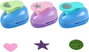 """Paper Punchers Hole Punch 1"""" Shape Punches for Kids Paper Crafts, Card Making, Scrapbooking - Pack of 3,Heart,Circle,Star"""