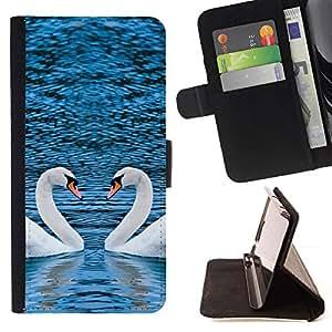 Momo Phone Case / Flip Funda de Cuero Case Cover - PINTORESCO dos cisnes CORAZÓN - Huawei Ascend P8 Lite (Not for Normal P8)