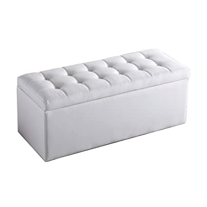 Tremendous Skyler Off White Leather Storage Ottoman Bench Great Deal Onthecornerstone Fun Painted Chair Ideas Images Onthecornerstoneorg